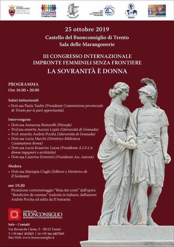 """III Congresso Internazionale Impronte Femminili senza Frontiere dal titolo """"La sovranità e donna""""."""
