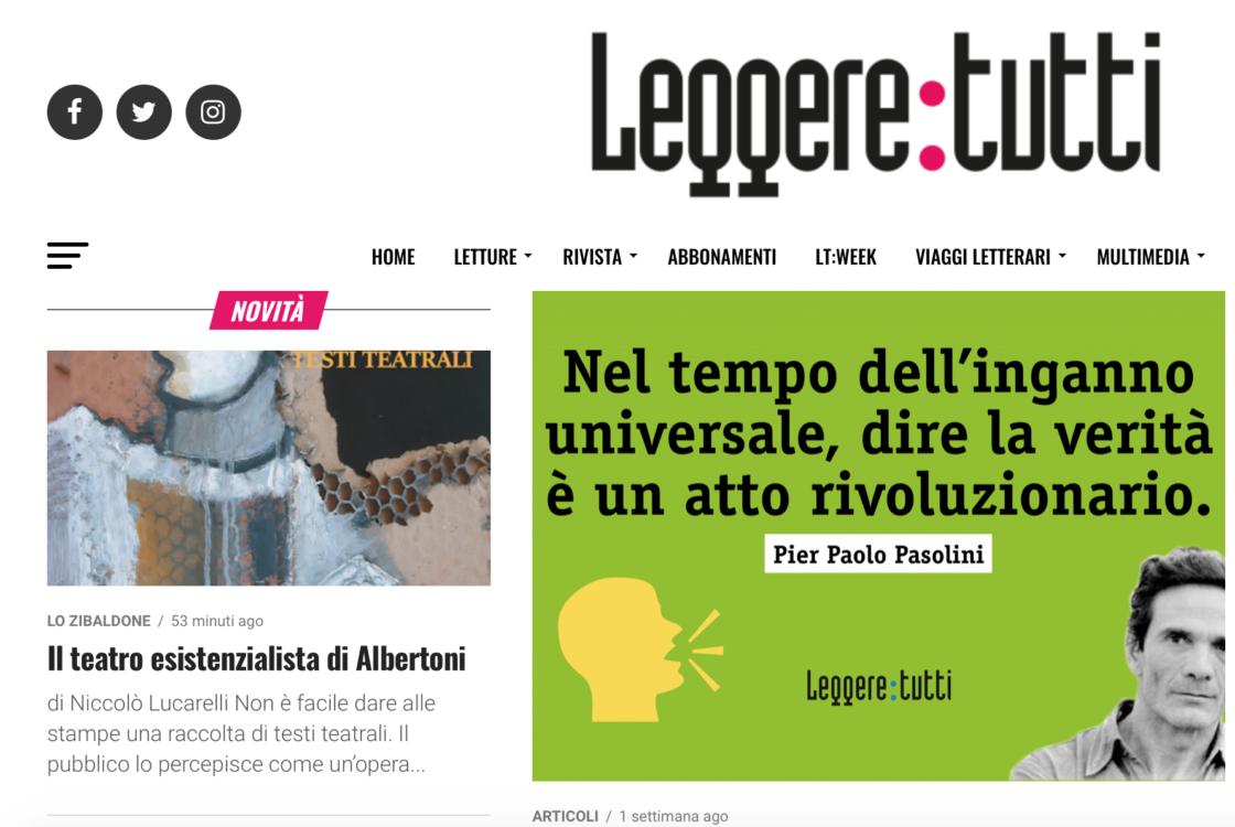 Il teatro esistenzialista di Albertoni, recensione dei Testi Teatrali di Pierluigi Albertoni su Leggere:Tutti - Il Sextante Edizioni